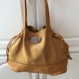 Furla Tan Leather Suede Drawstring Hobo Bag